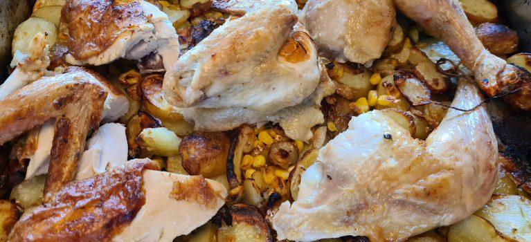 kylling med majs i ovn